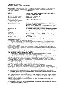 İhale Kayıt Numarası :2014/159303 a) Adresi