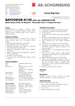 Teknik Bilgi Föyü BAYCODUR-K150 (Eski adı - ab