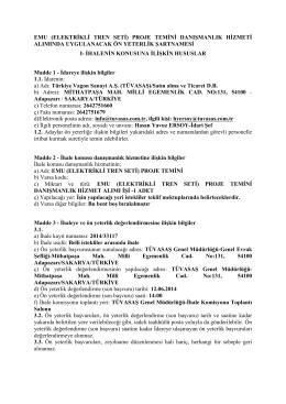 ÖN YETERLİK ŞARTNAME - Türkiye Vagon Sanayi A.Ş.