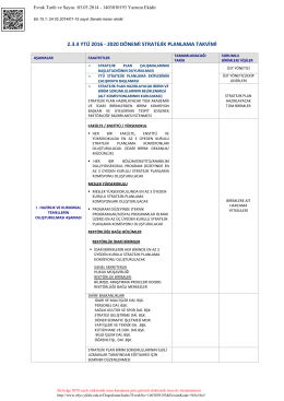 Ek.15.1.2016-2020 Stratejik planlama takvimi