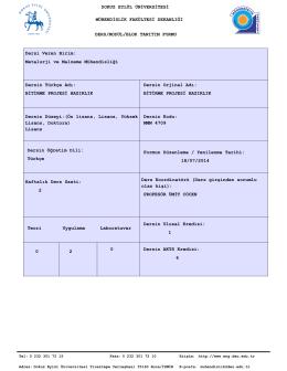MMM 4709 Bitirme Projesi Hazirlik