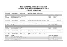 23 Aralık 2014 TARİHLİ KIRIKKALE-SEYMEN 1.teklif sonuçlar