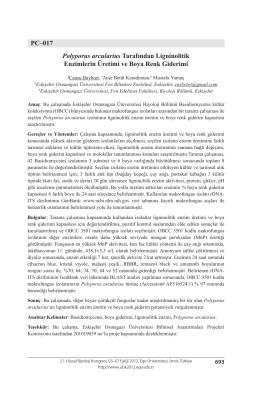 Polyporus arcularius Tarafından LigninolitikEnzimlerin Üretimi ve