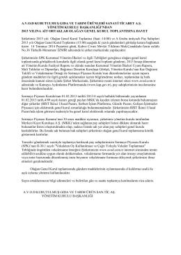 2013 Genel Kurul İlan Metni