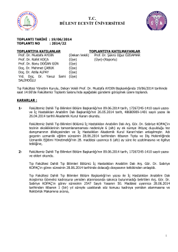 19/06/2014 Tıp Fakültesi Yönetim Kurulu Kararı