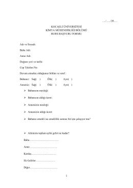 burs_formu - Kocaeli Üniversitesi Kimya Mühendisliği Bölümü