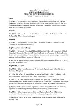 Staj Uygulama Esasları - Mühendislik Fakültesi
