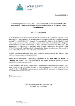 2014-65 Sıvılaştırılmış Petrol Gazının (L.P.G.)