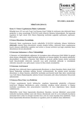 İSTANBUL, 04.04.2014 SİRKÜLER (2014/13) Konu: E