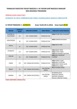 Tek. Fak. 2014-2015 Güz Yarıyılı YDİ107 İngilizce-I ve