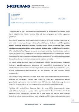 2014-013 Mineral Yağ ve Benzerlerinde ÖTV
