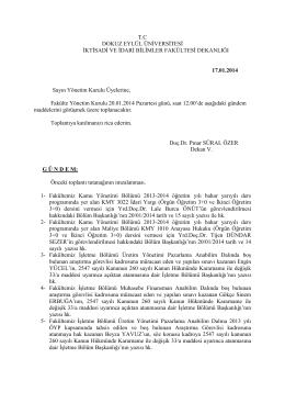 03-17 01 2014 gündem - İktisadi ve İdari Bilimler Fakültesi