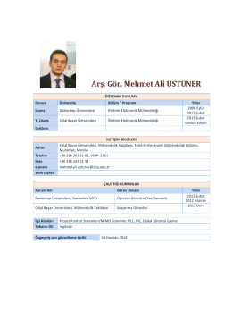 Arş. Gör. Mehmet Ali ÜSTÜNER - Elektrik