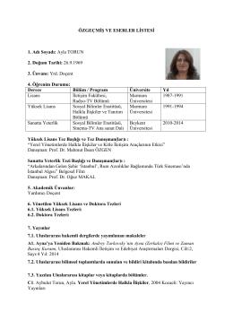 Özgeçmiş (CV) - İstanbul Yeni Yüzyıl Üniversitesi