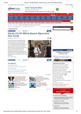 Mynet Haber (Zile de LYS ve SBS de Başarılı Öğrencilere Altın Verildi)