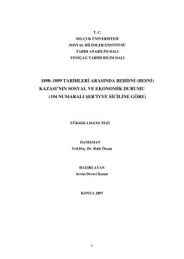 1898–1899 tarihleri arasında behisni (besni)