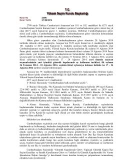 21.06.2014 Tarihli ve 3006 Nolu YSK Kararı