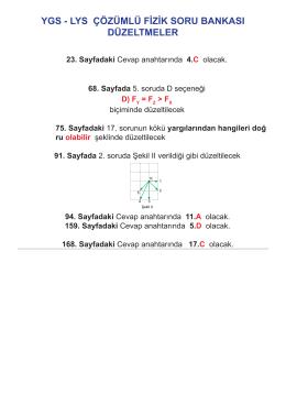 YGS - LYS ÇÖZÜMLÜ FİZİK SORU BANKASI DÜZELTMELER
