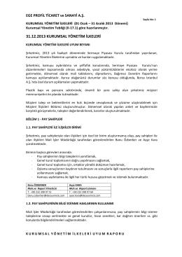 Kurumsal Yönetim İlkeleri Uyum Raporu 2013