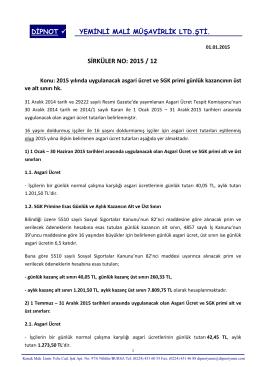 sırk 2015-12 2015 yılı asgari ücret ve sgk tavan tutarı hk.