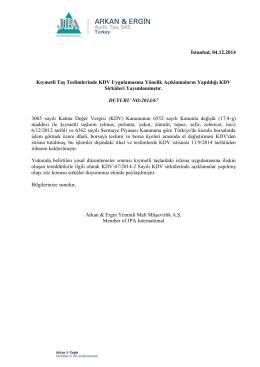 2014-67 Kıymetli Taş Teslimlerinde KDV