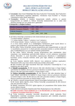 2014-2015 BİSİKLET BRANŞ AÇIKLAMALARI