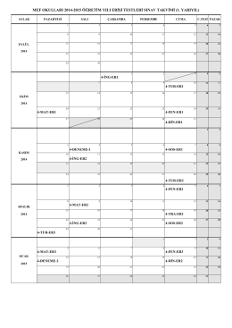mef okulları 2014-2015 öğretim yılı erişi testleri sınav takvimi