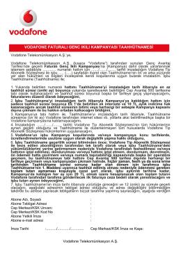 vodafone faturalı genc ıkılı kampanyası taahhütnamesi
