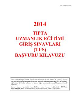 2014-TUS Başvuru Kılavuzu