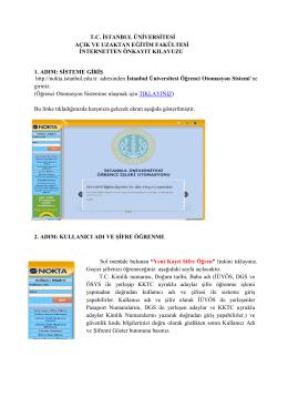 Ön Kayıt Kılavuzu için TIKLAYINIZ - İstanbul Üniversitesi Açık ve