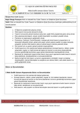 AUZEF-GT-72 Web Grafik Uzmanı Görev tanımı