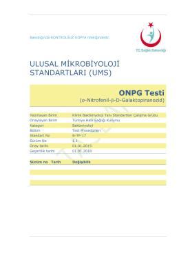 ONPG testi - Türkiye Halk Sağlığı Kurumu