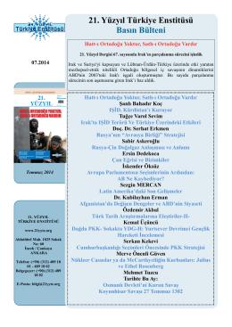 21. YÜZYIL Bülteni - 21. Yüzyıl Dergisi