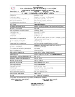 13.11.2014 / perşembe geçerli nöbet listesi