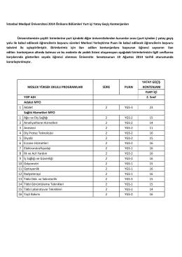 İstanbul Medipol Üniversitesi 2014 Önlisans Bölümleri Yurt içi Yatay