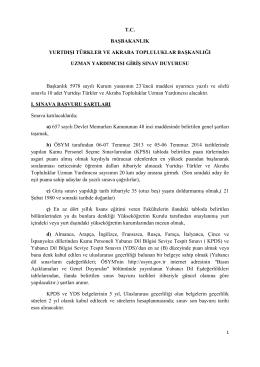 Yurtdışı Türkler ve Akraba Topluluklar Başkanlığı Uzman Yardımcısı