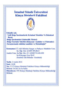 Slayt Başlığı Yok - İstanbul Teknik Üniversitesi
