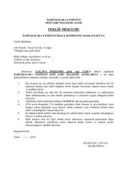 ek-1 teklif mektubu - Darüşşafaka Cemiyeti