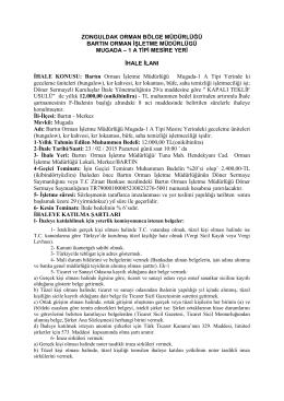 Mugada-1 İlan Metni - Zonguldak Orman Bölge Müdürlüğü