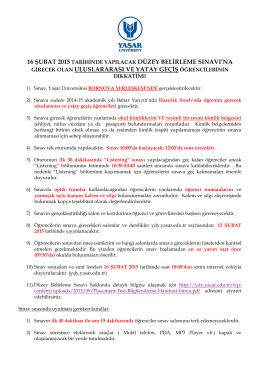 16.02.2015 Düzey Belirleme Sınavı Duyurusu
