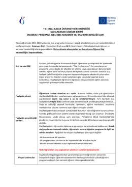 2014-2015 Erasmus + Öğrenci Staj Hareketliliği İlanı