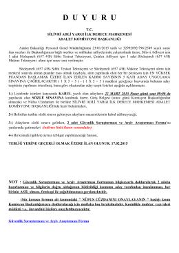 SÖZLEŞMELİ (657 4/B) Teknisyen ADAY TESPİT