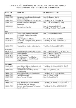 2014-2015 eğitim öğretim yılı kamu hukuku anabilim dalı bahar