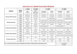 2014-2015 yılı ıı. dönem telafi sınav programı