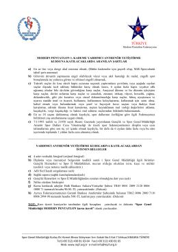 Şartlar ve İstenen Belgeler - TÜRKİYE Modern Pentatlon Federasyonu