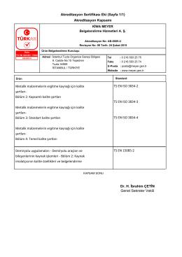 Akreditasyon Sertifikası Eki (Sayfa 1/1) Akreditasyon Kapsamı TS
