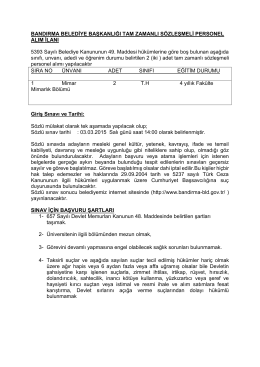 Bandırma Belediye Başkanlığı Sözleşmeli Personel Alım İlanı