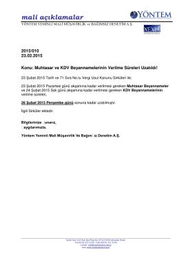 2015-010 Muhtasar ve KDV Beyannamelerinin Verilme Süreleri