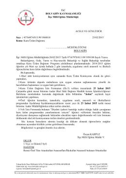 T.C BOLVADĐN KAYMAKAMLIĞI Đlçe Milli Eğitim Müdürlüğü