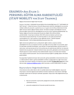 2014-2015 Personel Eğitim Alma Hareketliliği Bilgilendirme